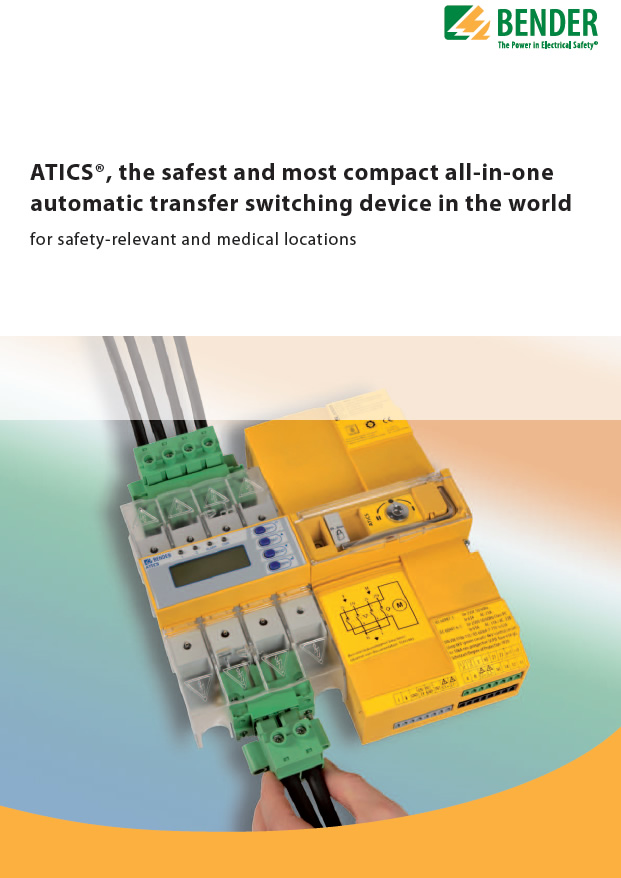 Proiectarea si realizarea unui sistem IT Medical devine foarte simpla, implementand noul dispozitiv Bender-ATICS-ISO,  produs omologat atestat cu marcaj MED cerut de IEC 60364-7-710 - ATICS, the safest and most compact all-in-one automatic transfer switching device in the world - for safety-relevant and medical locations